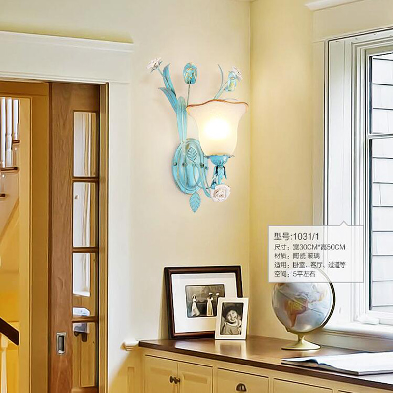 Mediterranean Modern Indoor Decorative Iron Wall Sconces Hanging Lights LED Lightup Livi ...