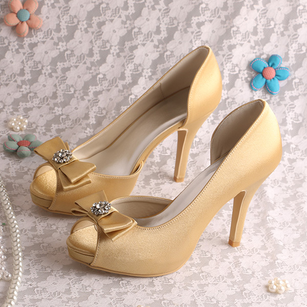 (20 Colors)Small Beads Gold Satin Wedding Bride Shoes Woman 2016 Heels High Heeled