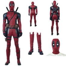 Deadpool 2  Cosplay Costume Wade Wilson accessories Red PU Leather Jumpsuit mask shoes gloves