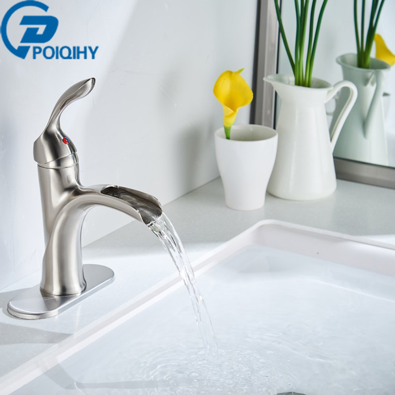 Bathroom Basin Faucet Single Handle Vanity Sink Mixer Taps Deck Mounted Tap Brss Brushed Nickel Faucet Waterfall Spout Tap flg free shipping 3 pcs tap waterfall bathroom basin sink bathtub mixer faucet chrome finish with strainer deck mounted taps 303