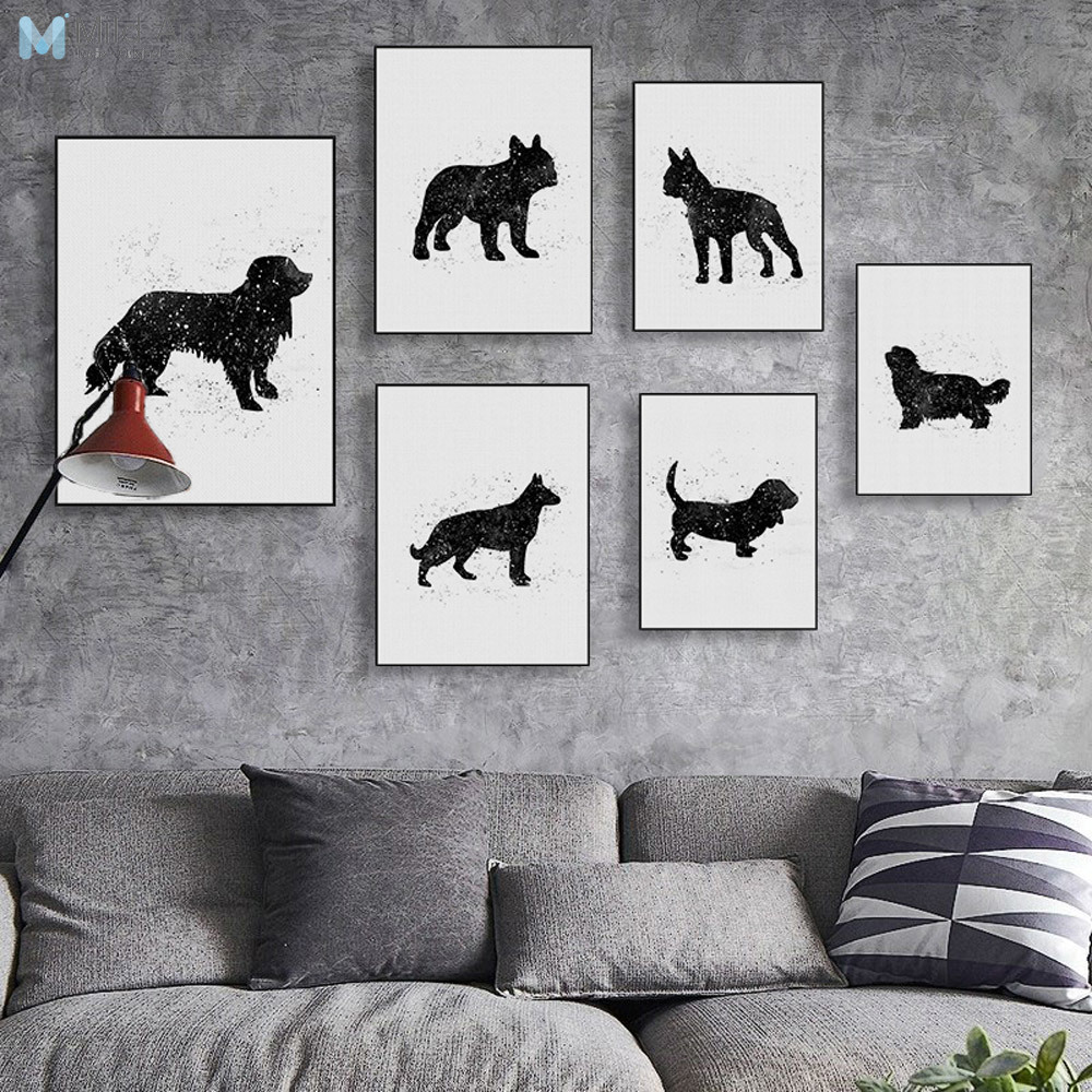 Black White Friend Pet Dog Greyhound Pug Terrie Canvas Art Print Poster Wall Picture Painting Custom Vintage Living Room Decor