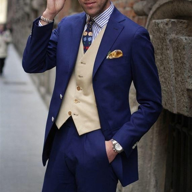 Clic Style Men Suit 2018 Blue Groom Tuxedos Groomsmen Mens Wedding Suits Prom Dress Custom