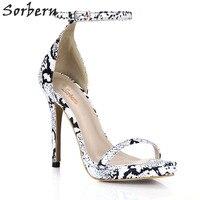 Sorbern Summer Shoes For Women Dress Shoes Snakeskin Sandals Women 2018 Summer Luxury Women Shoes Heels Size 11