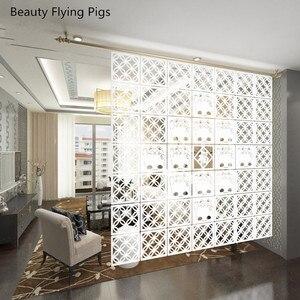 Image 2 - 12 шт. 29х29 см подвесные экраны, детали для гостиной, перегородки, настенное искусство, сделай сам, украшение из белого дерева, пластиковая пряжа