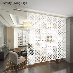 Image 2 - 12  piece 29x29 Cm Hanging Screens Living Room Parts Of Panels Partition Wall Art Diy Decoration White Wood Plastic yarn