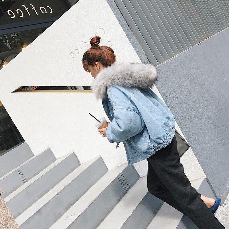 Fourrure Gris Jeans Oversize Vestes Femmes Dames Mode Denim rose Veste Manteaux 2018 Capuche À De Survêtement Lâche qTTRZtwY