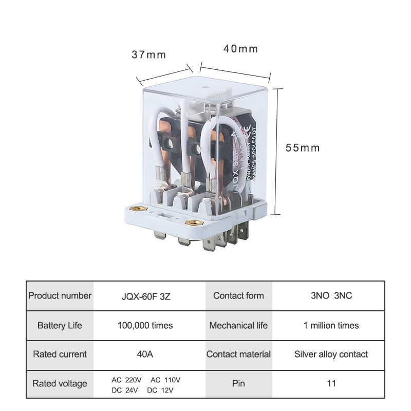 JQX-38F 3Z 3PDT relais électromagnétiques 40A AC 220 V 110 V DC 24 V 12 V 11 broches bobine de cuivre haute puissance relais commutateur 3NO 3NC