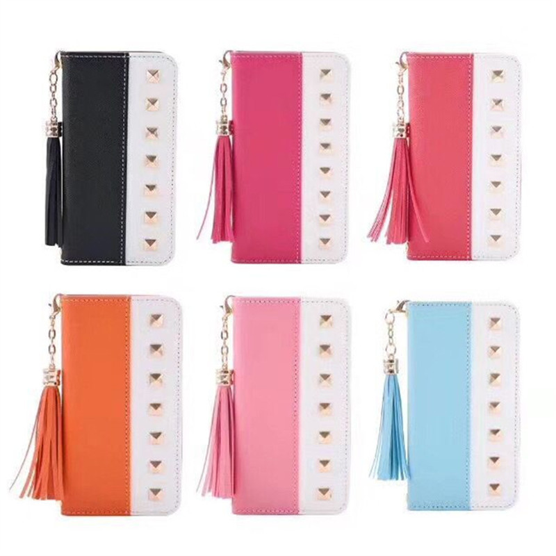 Lucklywang for iphone 7 case hit color card shatter-resistant cover for iphone 8 plus mirror fringe wallet leather case
