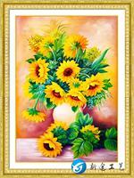 DIY 5D Diamond Painting Embroidery Sunflower Vase Round Diamond Painting Cross Stitch Kits Mosaic Home Decoration