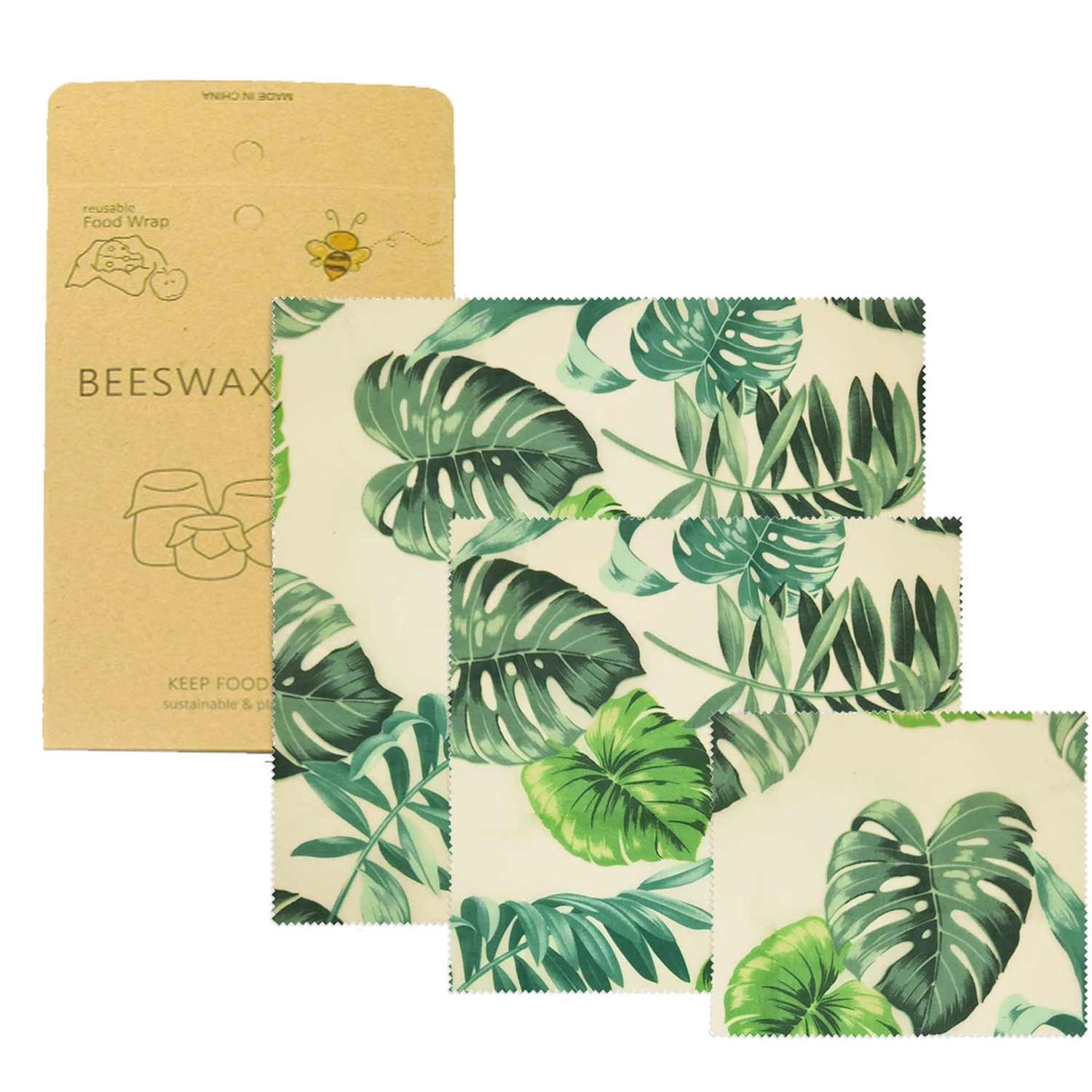Visual Touch Palm Reusable Beeswax Cloth Wrap Food Fresh Bag Lid Cover Stretch Lid Jungle Party Bees wax wrap