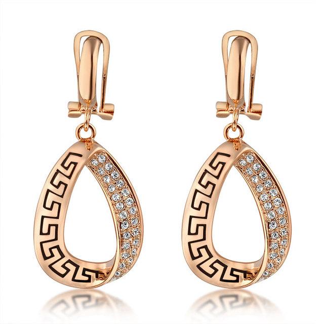 Mytys Moda Dangle Gota Triângulo Rosa Brincos de Ouro Para As Mulheres 2016 Mulheres Por Atacado Acessórios E758