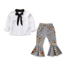 Kids Baby Girl Outfit Clothes T-shirt Long Sleeve Solid Chiffon Tops Floral Flared Pants 2PCS Set 2019 black floral print flared long pants