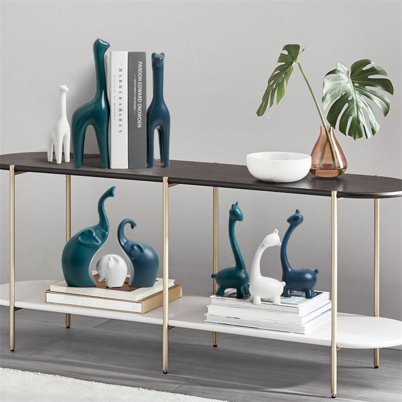 Home Decoration Accessories Resin Deer/Snails/Fox/Elephant/Giraffe Statue Abstract Animal Sculpture Ornament Gift Craft Figurine