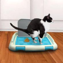 Портативный туалетный поднос для домашних животных, собак, кошек, с колонной, писсуар, миска, туалет для тренировок