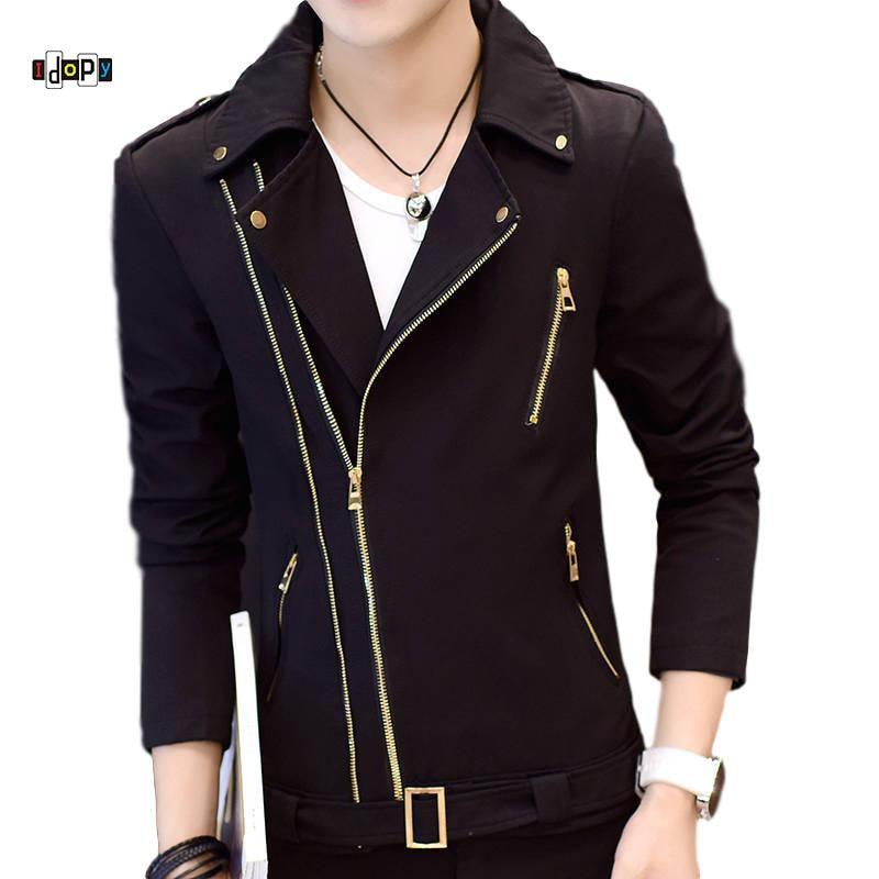 Idopy Fashion Korean Style Mens Motorcycle Jacket Irregular Zipper Slim Fit Zip Up Lapel Collar Multi-Zippers Coat For Male