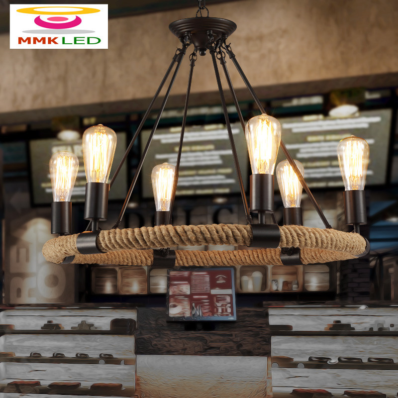 MMKLED rope Chandelier American country loft Nordic retro living room Chandelier  restaurant bar Castle lamps E27 110V / 220V american living room retro art chandelier nordic country antler chandelier clothing store villa candle lamp