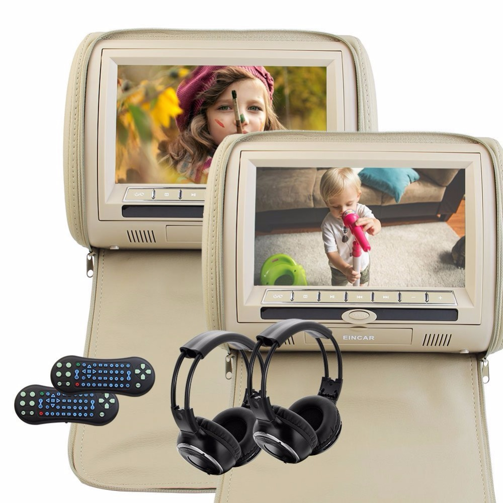 2x9 Digital Screen zipper two Car Headrest DVD Player USB SD FM Transmitter Game Disc Remote Control with IR Wireless Headsets eincar car 9 inch car dvd pillow headrest two monitor lcd screen usb sd 32 bit game fm ir multimedia player free 2 ir headphones