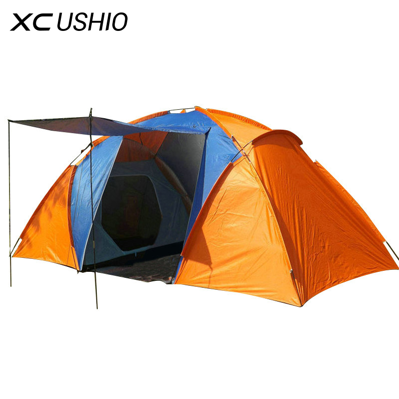 Quality 5-8 Person Large Tent Waterproof Double Layer Summer Tent Outdoor Camping Hiking Fishing Hunting Familiy Party Tent hewolf 2persons 4seasons double layer anti big rain wind outdoor mountains camping tent couple hiking tent in good quality