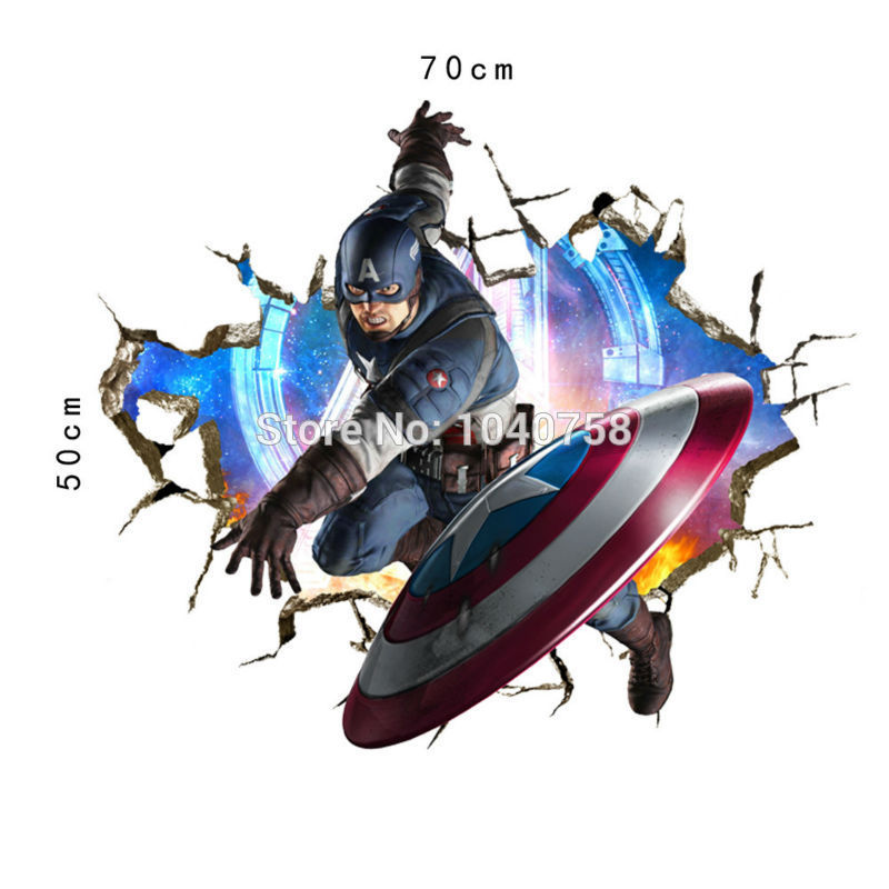 Avengers 3d through wall stickers superhero decal art for boy room decoration wallpaper kids hulk caption america ironman poster in wall stickers from home