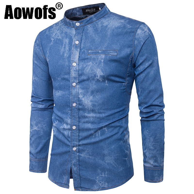 2017 Autumn British style Fake pocket denim font b shirts b font font b men b