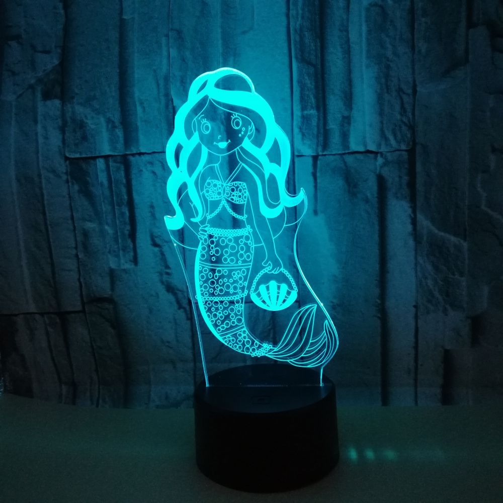 Mermaid 3d Nightlight Seven Colourful Touch 3d Visual Desk Lamp Light Gift Logo Customized 3d Small Table LampMermaid 3d Nightlight Seven Colourful Touch 3d Visual Desk Lamp Light Gift Logo Customized 3d Small Table Lamp