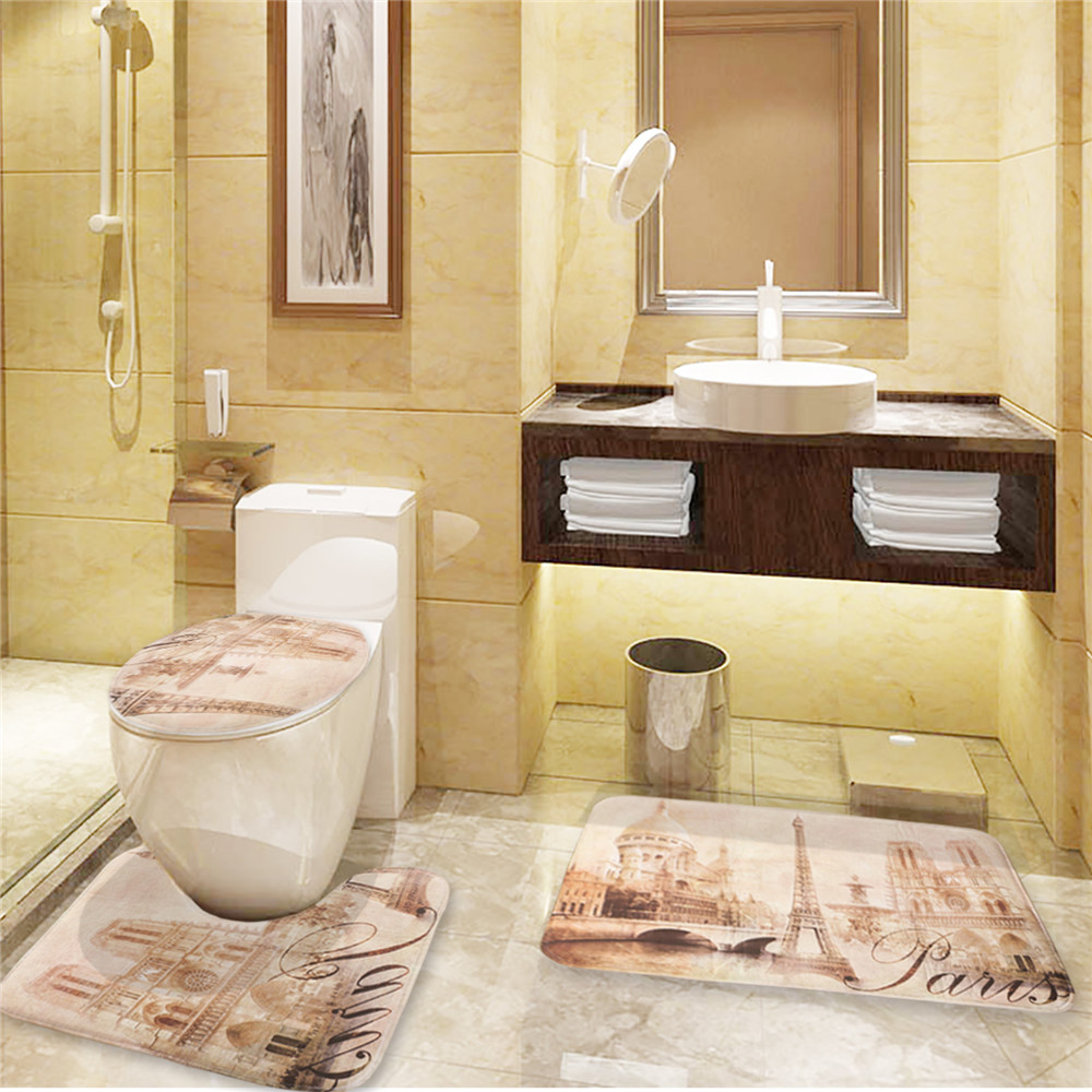 Brand New Eiffel Tower Toilet Cover Set With 3 Pc Bathroom Mat Carpet Lid In Seat Covers From Home Garden On Aliexpress