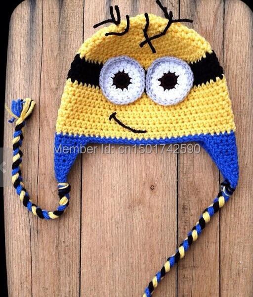 Lovely Minion Crochet baby hat children cotton hat Cartoon 5 pcs lot ... e02c6814684