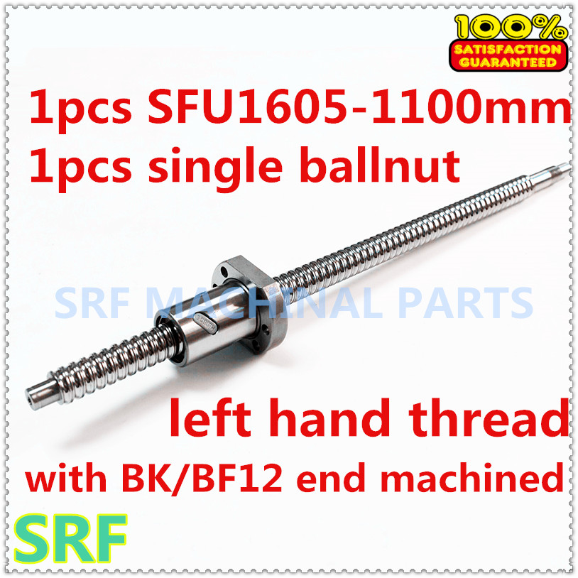 High quality 1pcs 16mm left hander Rotation ballscrew SFU1605  L=1100mm+1pcs SFU1605 Ball nut with BK/BF12 end machined tbi left helix c3 ballscrew 1605 300mm sfu1605 nut end machined high precision for cnc diy parts