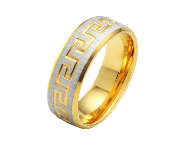Hot-Selling 7mm Fashion Simple gold color Great Wall Men Ring Titanium 316L Stainless Steel Engagement Wedding Rings