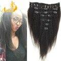 Afroamericano Clip en extensiones de cabello humano rizado Yaki grueso recto Clip Ins 120 g pelo virginal brasileño Clip en extensión