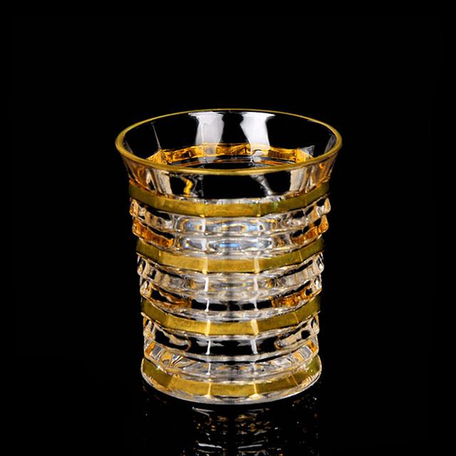 Czech Republic Bohemia Style Whiskey Glass Trace Gold Unique Shape Bird Nest Prismatic Chivas Wine Glasses Cup Vasos De Cristal
