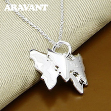 925 Silver Color Double Butterfly Pendant Necklaces For Women Fashion Silver Plated Jewelry Gifts цена в Москве и Питере
