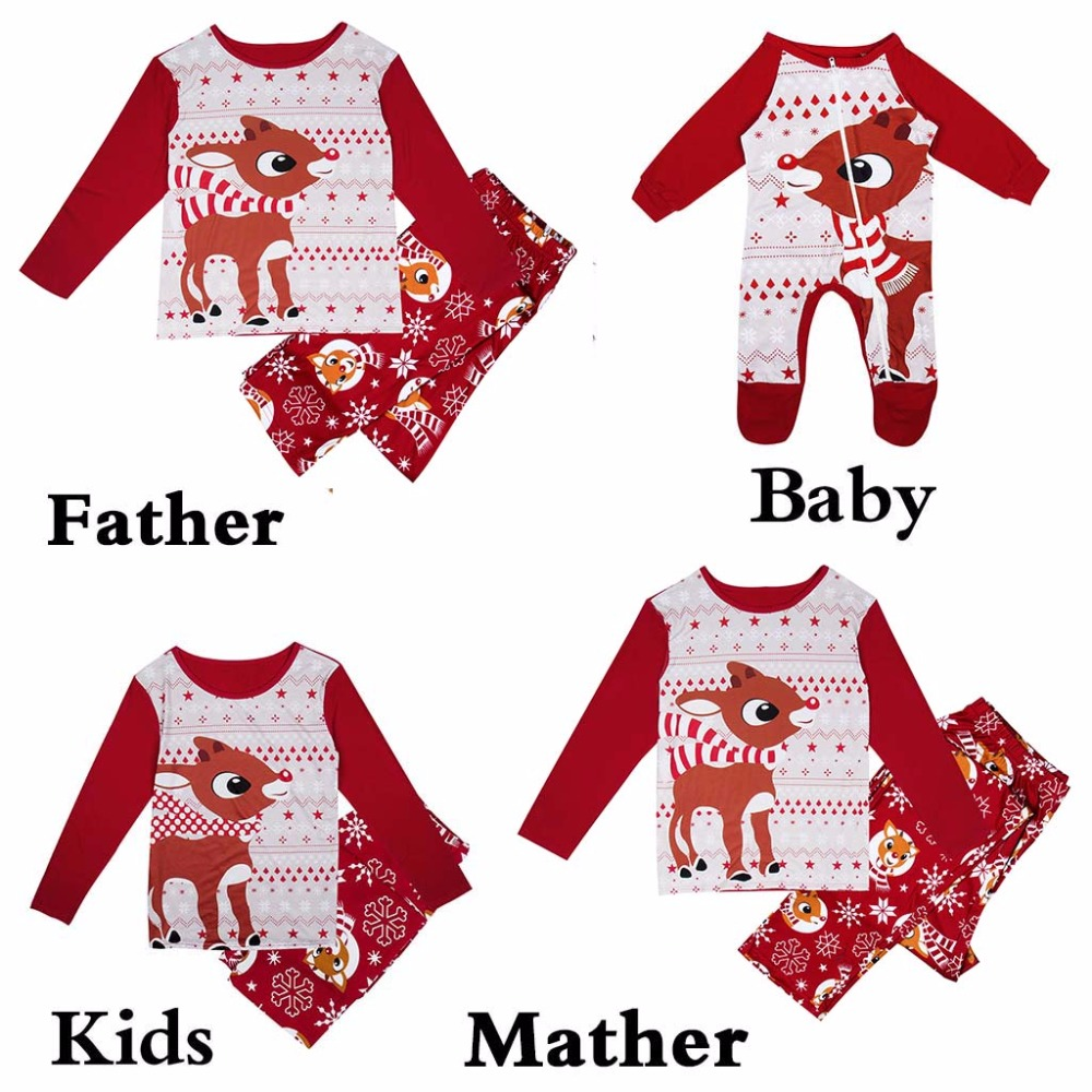 Family Pajamas Set Christmas Fashion Adult Kids Pajamas Set Family Matching Outfits Cotton Nightwear Sleepwear Red Pyjamas