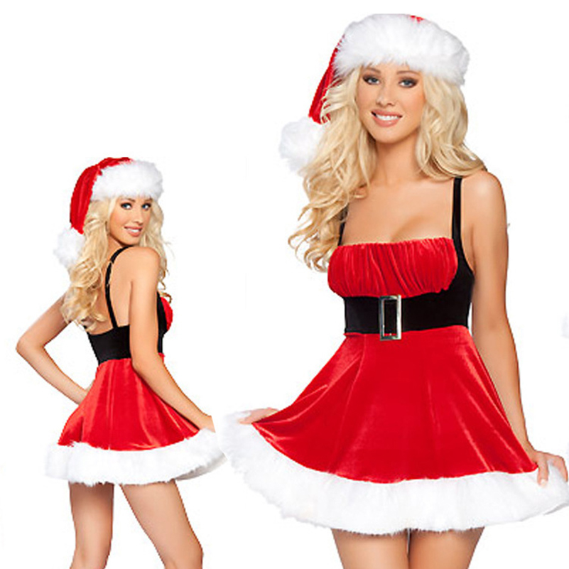 Winter New Year Party Santa Claus Costume Sexy Christmas Festival Cosplay Dress For Women