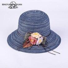 Spring Summer Women Sun Hats Fashion Lady Wide Large Brim Foldable Straw Hat Flowers Sunscreen Beach Cap Girl Bucket