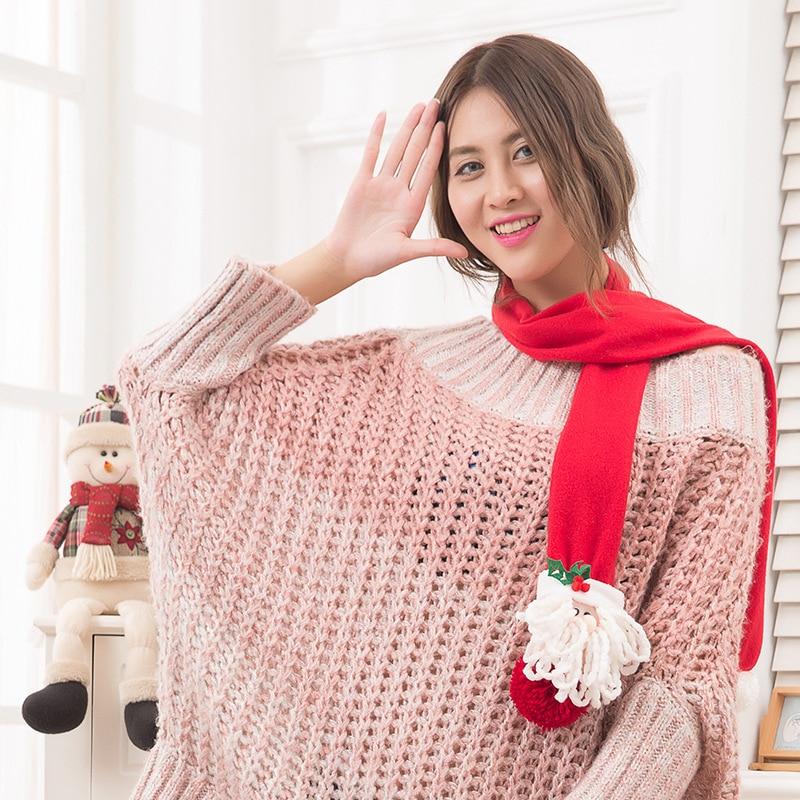 2018 Red Christmas Santa Claus Snowman Elk Scarf Neckerchief for Children Women Men Christmas New Year Gift