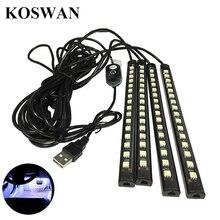 4 в 1 12 В 5 Вт 5050 автомобиль-Стайлинг 4*16 LED, Декоративный настроение ноги свет красочные автомобили подкладке Свет USB Авто Атмосфера лампы
