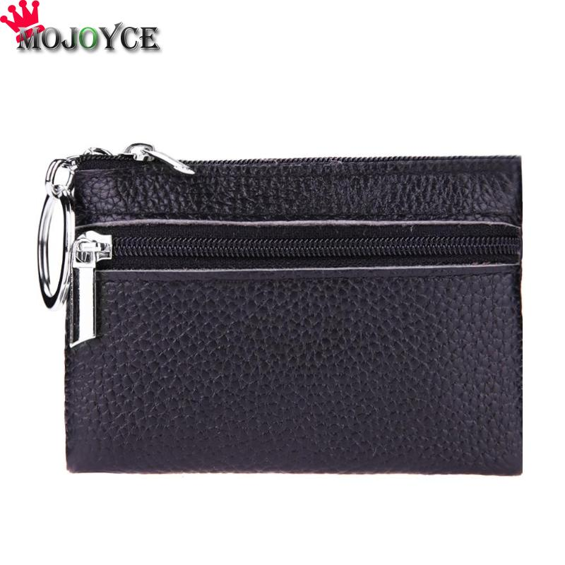 Genuine Leather Coin Purse Unisex Card Holder Pocket Mini Wallet Key Holder Case PU Women And Men Small Money Bag Change Purses