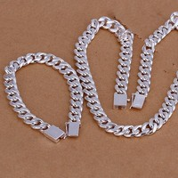 Male Jewelry Set 10MM Curb Chain Bracelets Necklace Joyas De Plata High Quality Classic Charm 925