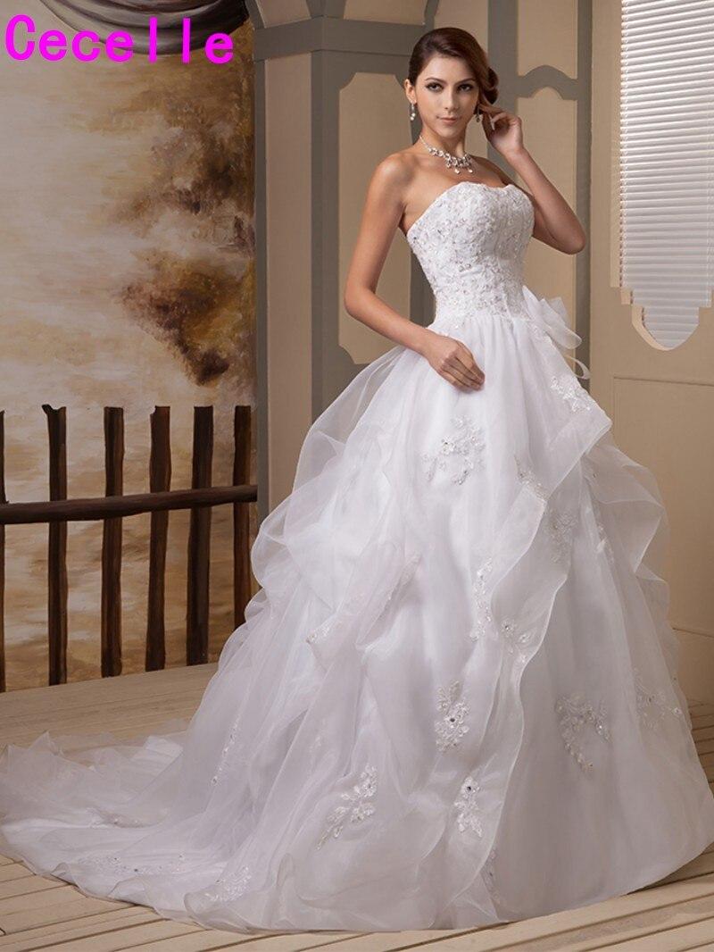 Gorgeous White Ball Gown Organza Wedding Dresses Strapless Beaded ...