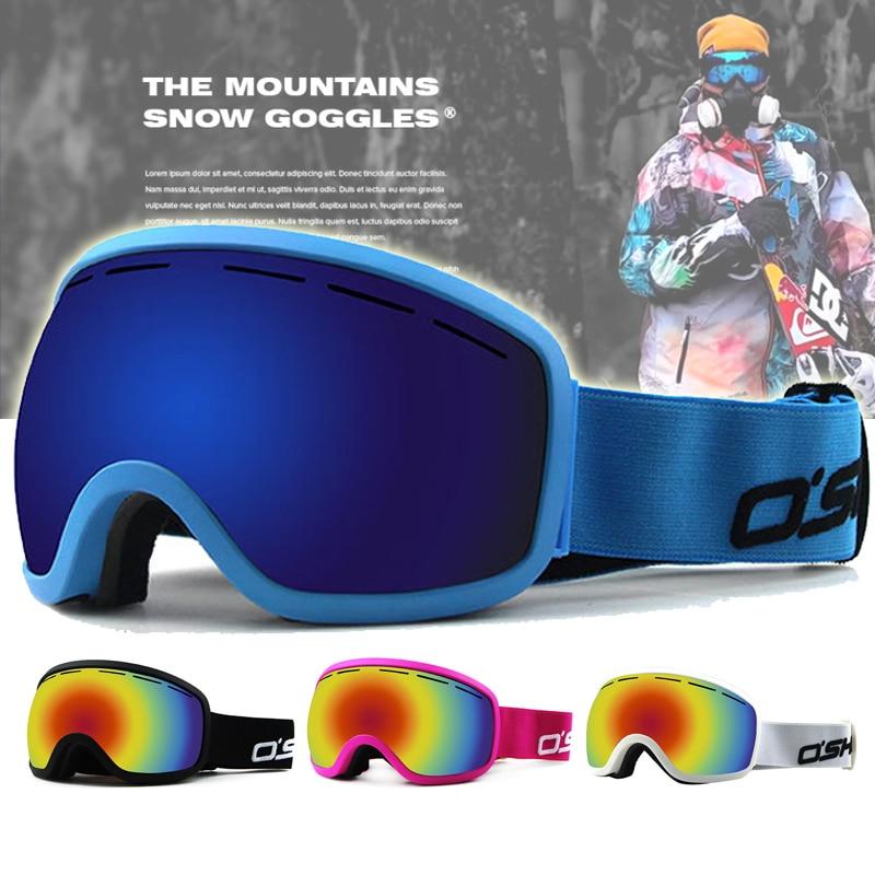Prix pour Grand Cadre Motoneige Ski Lunettes Anti brouillard Motocross Lunettes googles uv400 moto lunettes de Soleil hommes femmes noir bleu