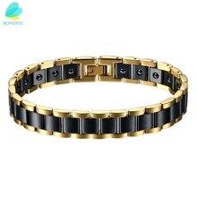 BONISKISS Mens big heavy Health Energy Ceramic Bio Magnetic  Bracelets Stainless Steel (Black/Gold/White)