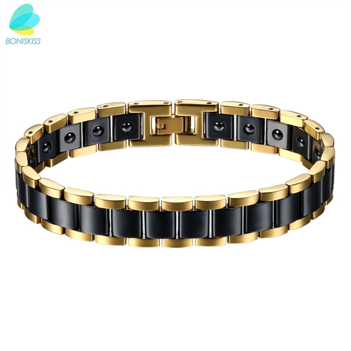 Online Shop Boniskiss Pria Berat Besar Kesehatan Energi Keramik Bio Gelang Magnetic Stainless Steel Hitam Gold Putih Aliexpress Mobile