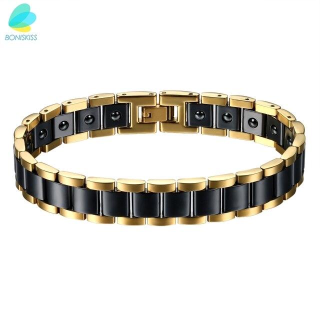 BONISKISS pulseras biomagnéticas de cerámica de energía de salud grande pesado para hombres de acero inoxidable (negro/oro/blanco)
