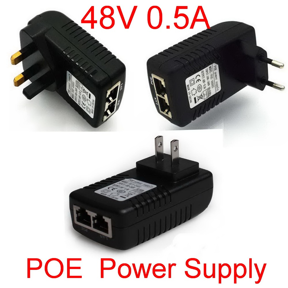 High quality 1pcs surveillance cctv security 48v 0 5a poe wall plug poe injector ethernet adapter