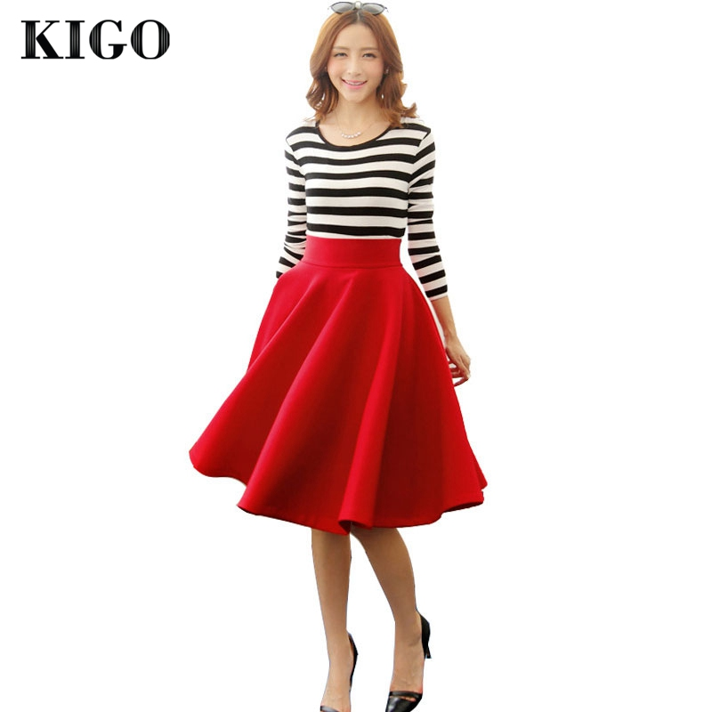 kigo vintage big swing skirts high waist knee length