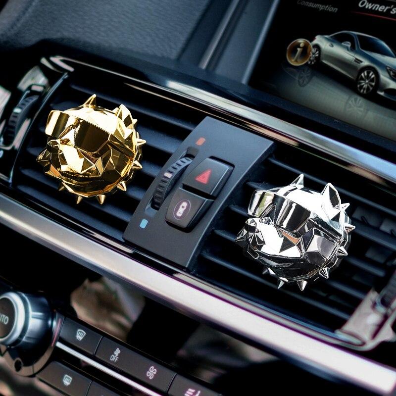 Ambientador de aire de Bulldog creativo Perfume coche decoración Auto Geur Clip Bulldog fragancia Perfume Parfum Voiture difusor de coche