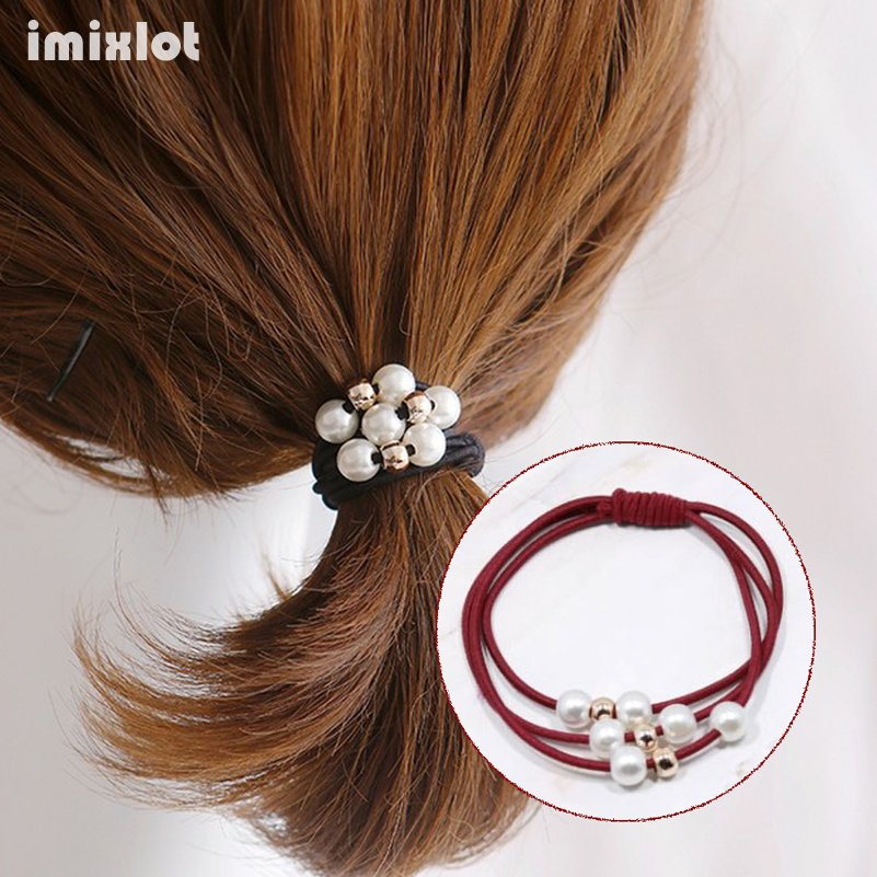 Women Hair Accessories Simulated-pearl Beads Headbands Ponytail Holder Lady Hair Gum Headwear Girls Multilayer Elastic Hair Band