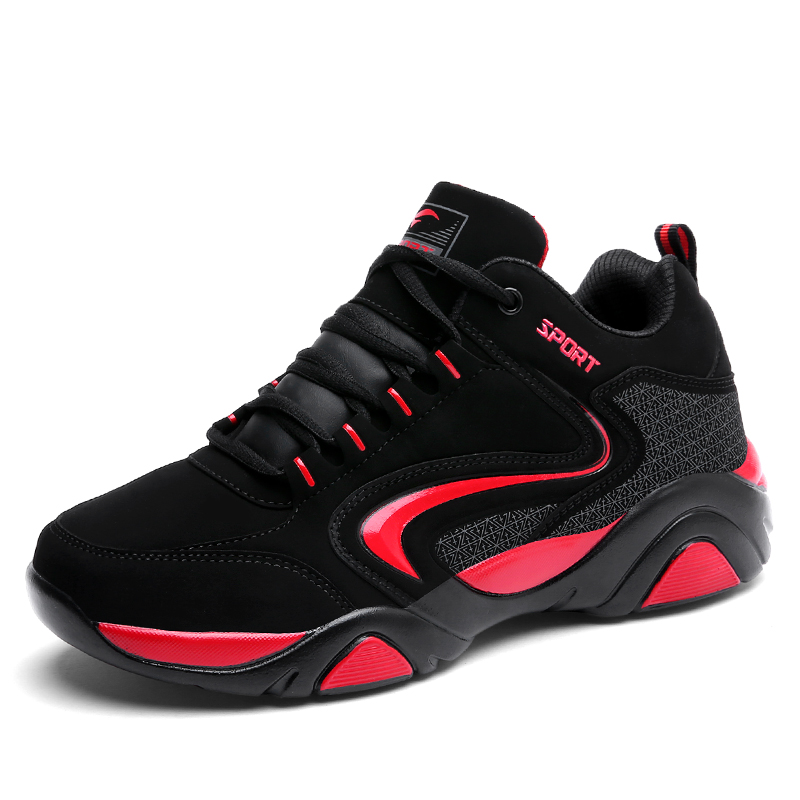 2017 Winter New Mens Athletic Running Shoes  Outdoor Brand Sneakers  Trainers Black Red Comfortable Athletic Jogging Shoes