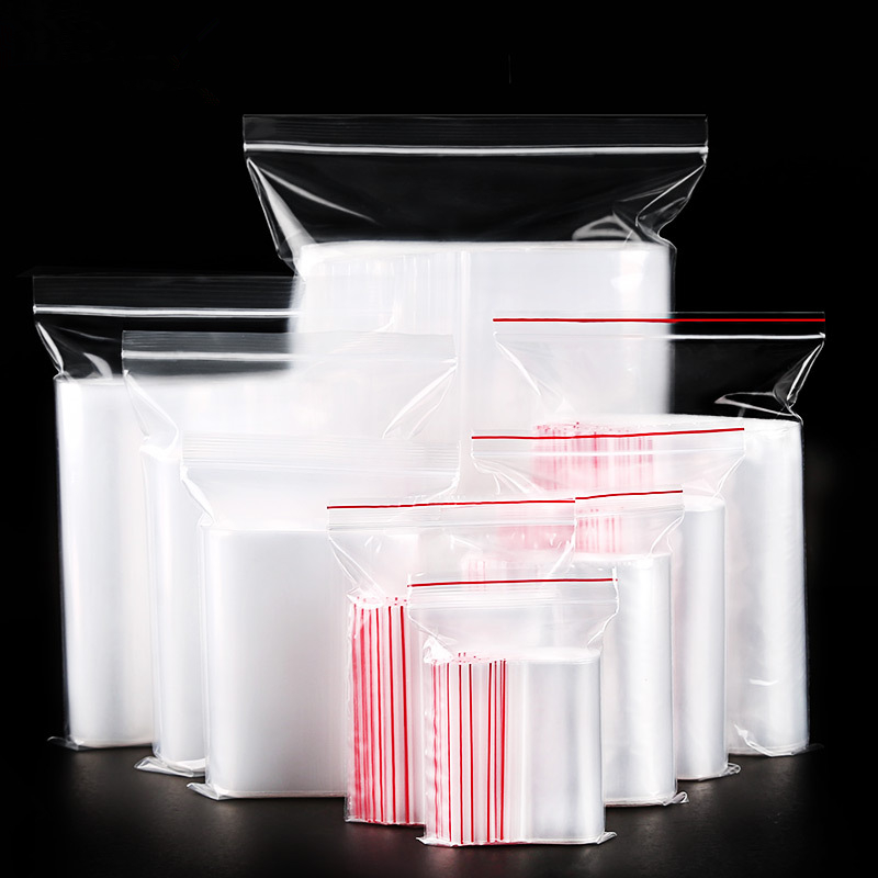 (100 Pieces/lot) Plastic Bag Dust Seal Pocket Food Clothing Packaging Zipper Bag Transparent Thick PE Ziplock Bag